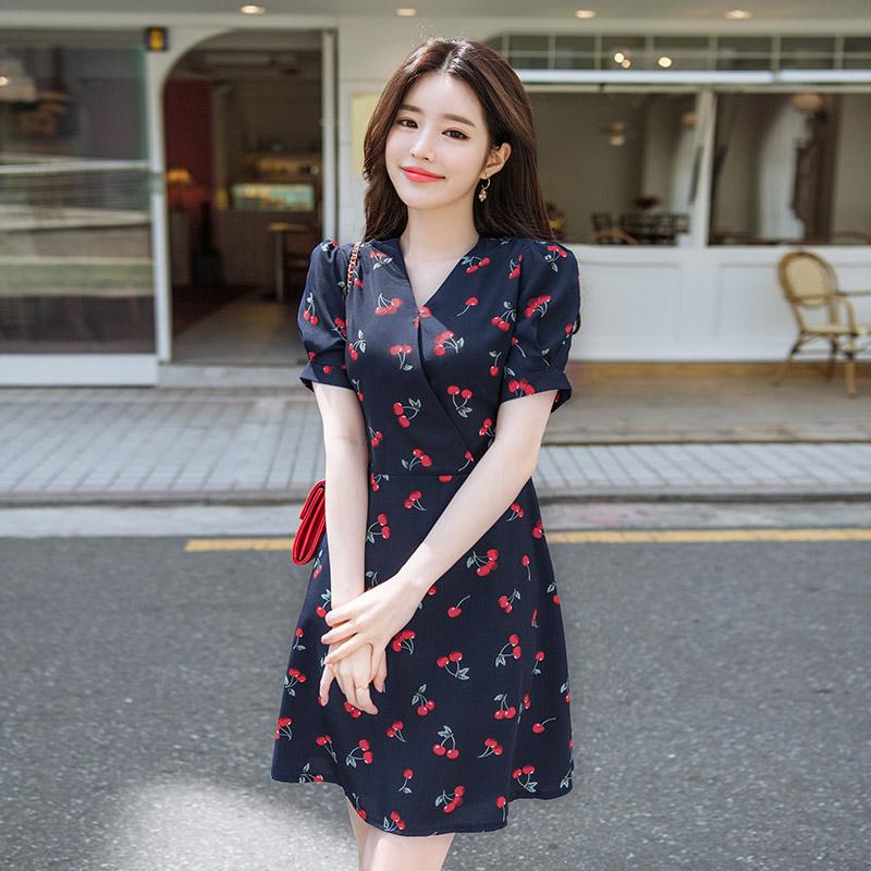 op7001(A) 상큼한 체리 포인트로 톡톡 튀는 매력 가득한 미니 플레어 원피스 dress
