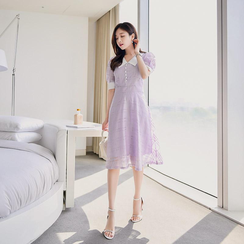 op7008 빅카라 배색 디자인에 은은한 시스루 체크 쉬폰 원피스 dress