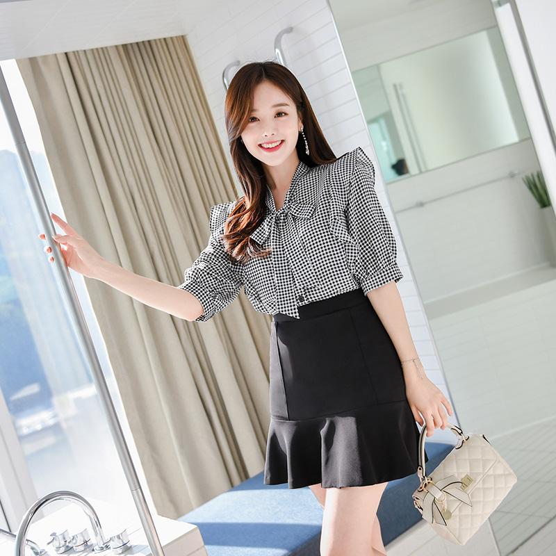 bs4344 고방체크 패턴 프릴 리본 블라우스 blouse