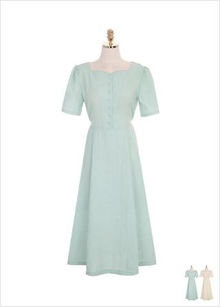 op7105 하트 스퀘어 네크라인과 콩 단추 장식의 롱 원피스 dress