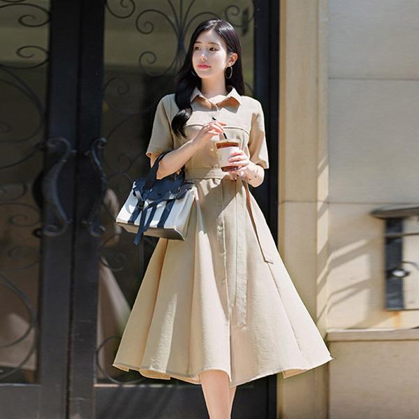 op7117 고급스러운 디자인의 백밴딩 연결스트랩 반팔 셔츠원피스 dress