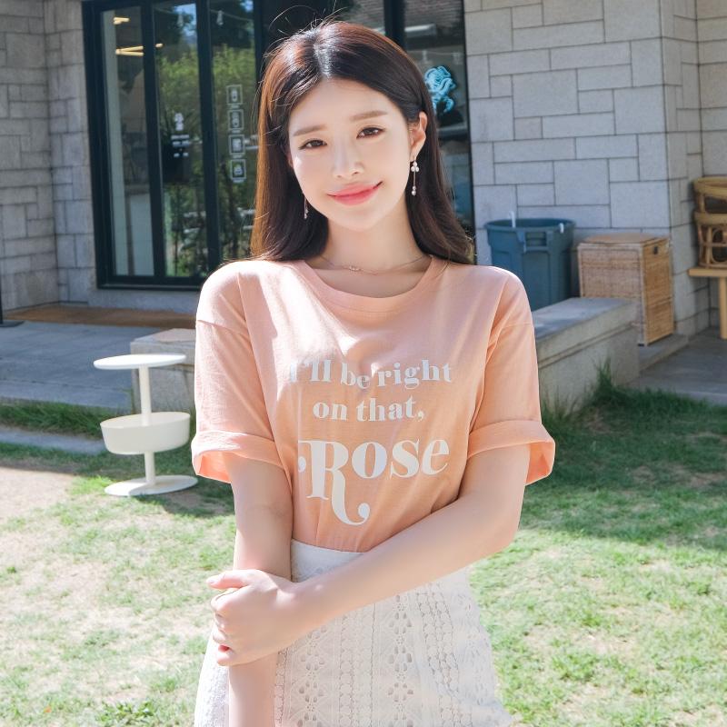ts1583 사랑스러운 로즈 레터링 장식의 라운드넥 코튼 티셔츠 tee