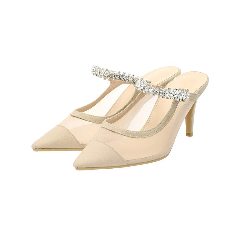 sh1500 2가지 굽 타입의 시스루 배색 큐빅 스트랩 블로퍼 힐 shoes