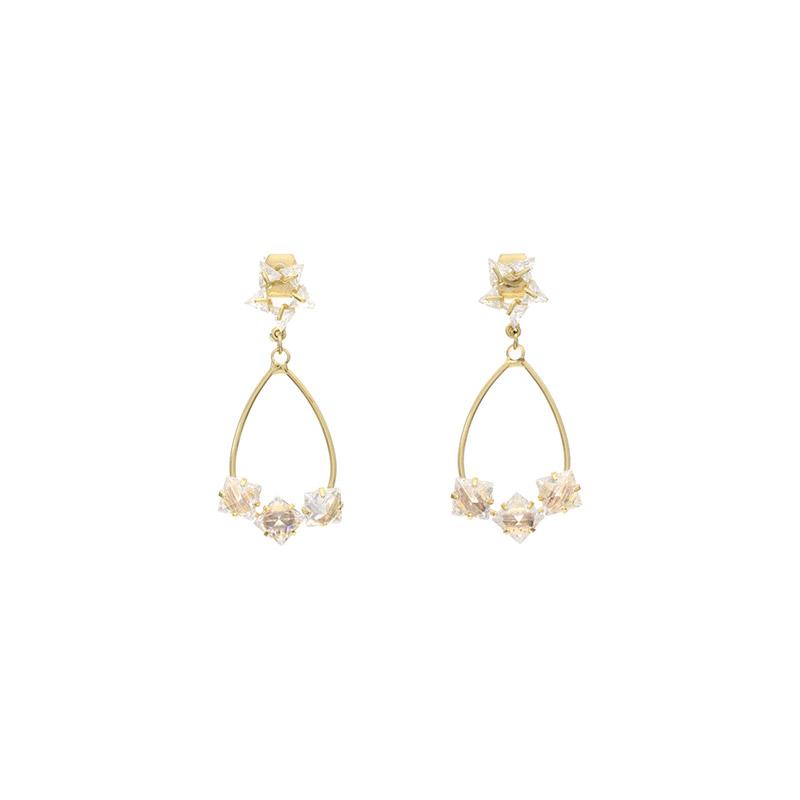 ac3958 은은한 별 포인트의 큐빅 드롭 골드 이어링 earring