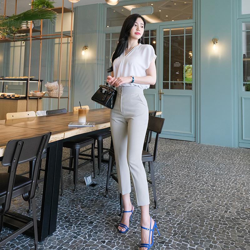 ps1784 쫀쫀탱탱 넓은 허리라인 밴딩 슬림 슬랙스 pants