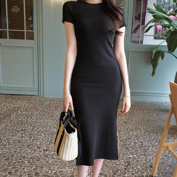 op7222 꾸민듯 안꾸민듯 시크한 사이드 슬릿 장식의 반팔 코튼 롱 원피스 dress