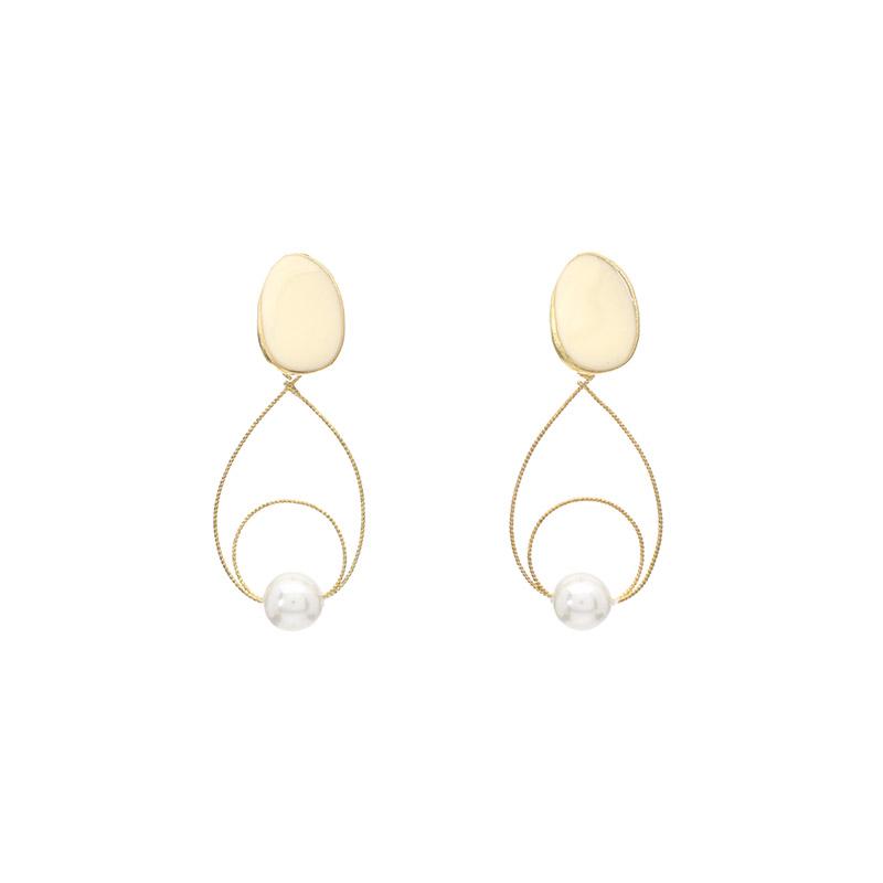 ac3978 더블 물방울 포인트의 진주알 드롭 골드이어링 earring