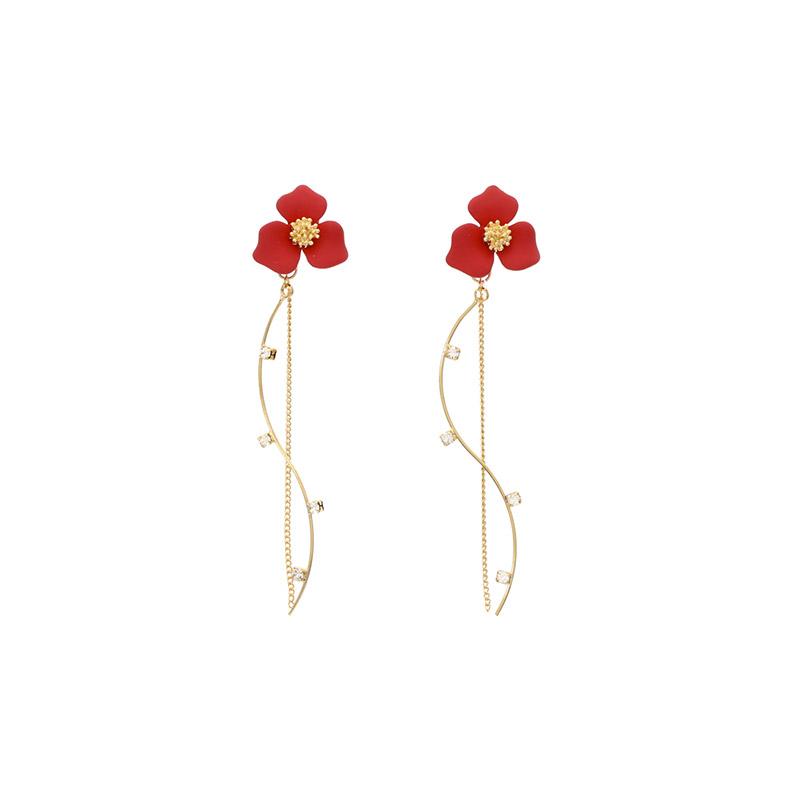 ac4001 플라워 웨이브 큐빅 드롭 이어링 earring