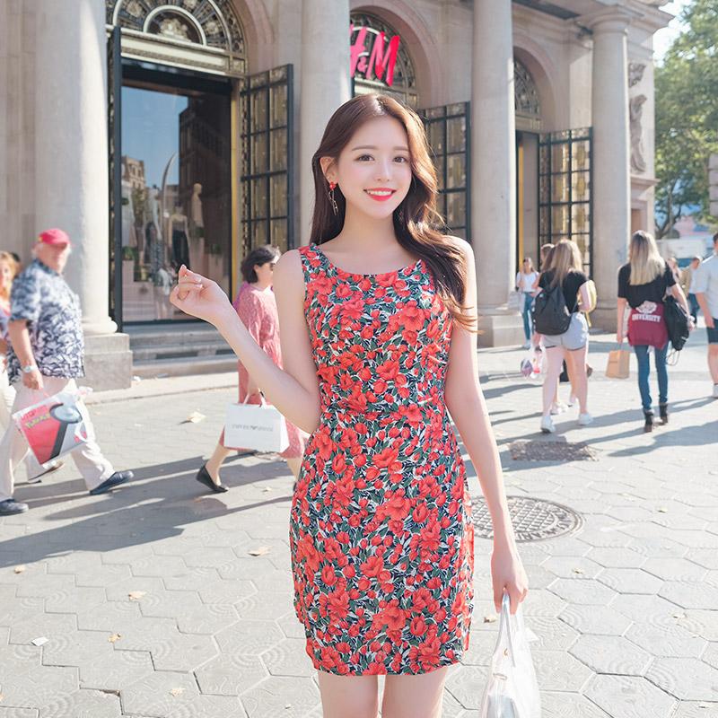 op7271 사이드 라인 셔링 포인트의 플라워 민소매 원피스 dress