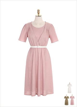 op7381 벨트 세트 구성의 플레어 밴딩 린넨 롱원피스 dress
