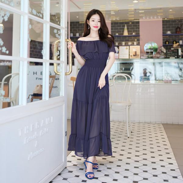 op7417 오프숄더로도 착용 가능한 프릴디테일의 쉬폰 롱 스모크밴딩 원피스 dress