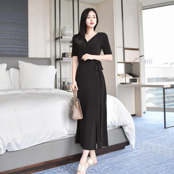 op7444 글램한 바디라인을 선사할 V넥 사이드 리본 장식 랩 플레어 원피스 dress