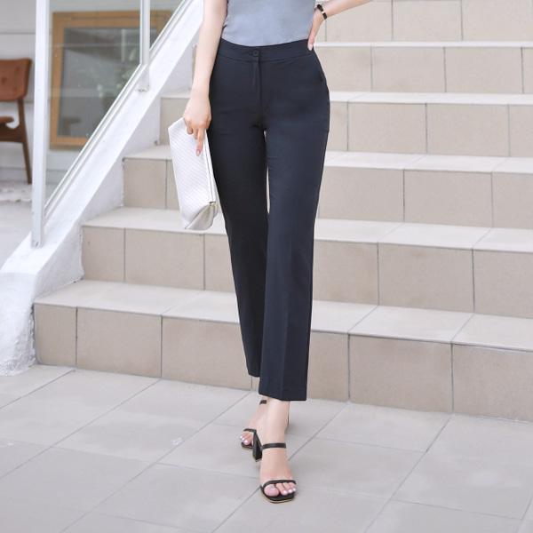 ps1848 완벽한 베이직 핏감의 반 하이웨이스트 슬림 9부 슬랙스 pants