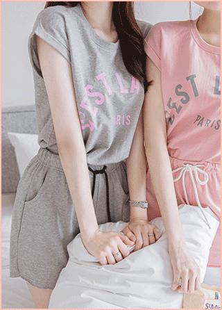 op7454 Tシャツとショートパンツツーピースセット