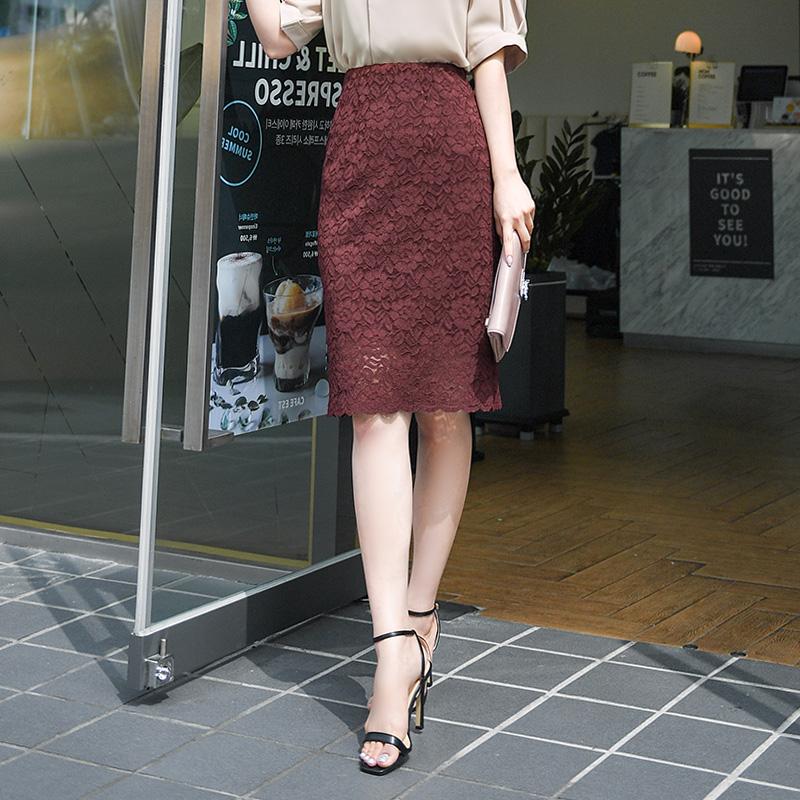 sk3605 가성비갑 쫀쫀한 허리밴딩의 스판좋은 베이직 미디기장 레이스스커트 skirt