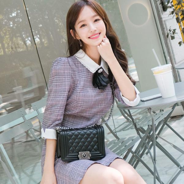 bg830 명품 레이블 감성의 포인트 퀼팅 미디엄 체인백 bag