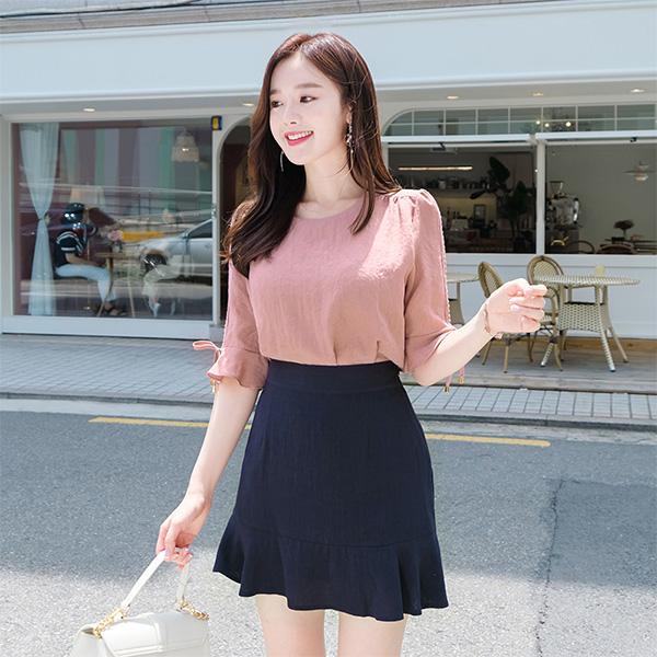 sk3612 산뜻한 착용감의 린넨 패브릭의 러블리한 밑단 프릴 스커트 skirt