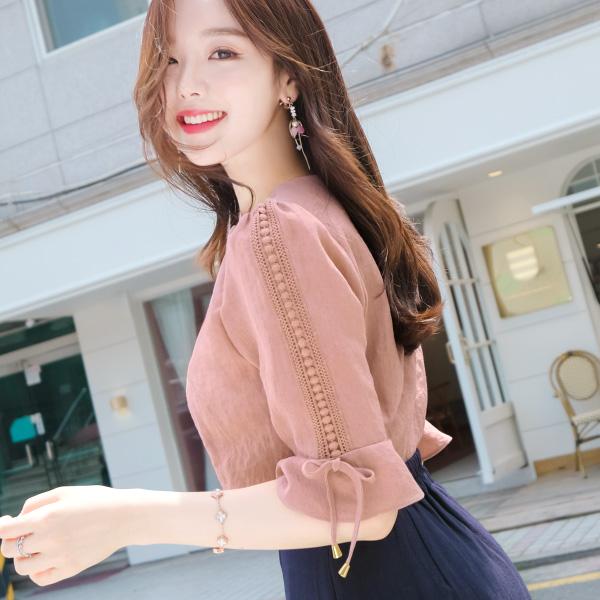 bs4535 슬리브 옆레이스 레이온 혼방 7부 블라우스 blouse