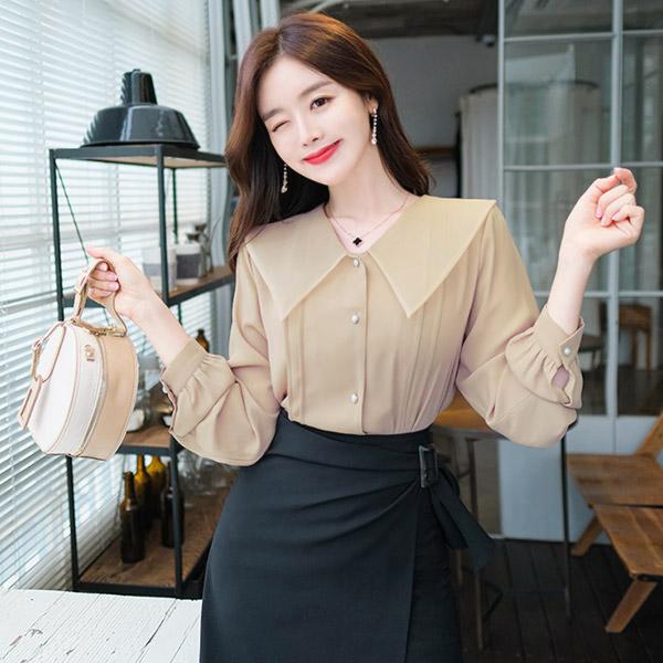 bs4552 로맨틱한 오간자 와이드 카라와 진주 버튼 핀턱 디테일 블라우스 blouse
