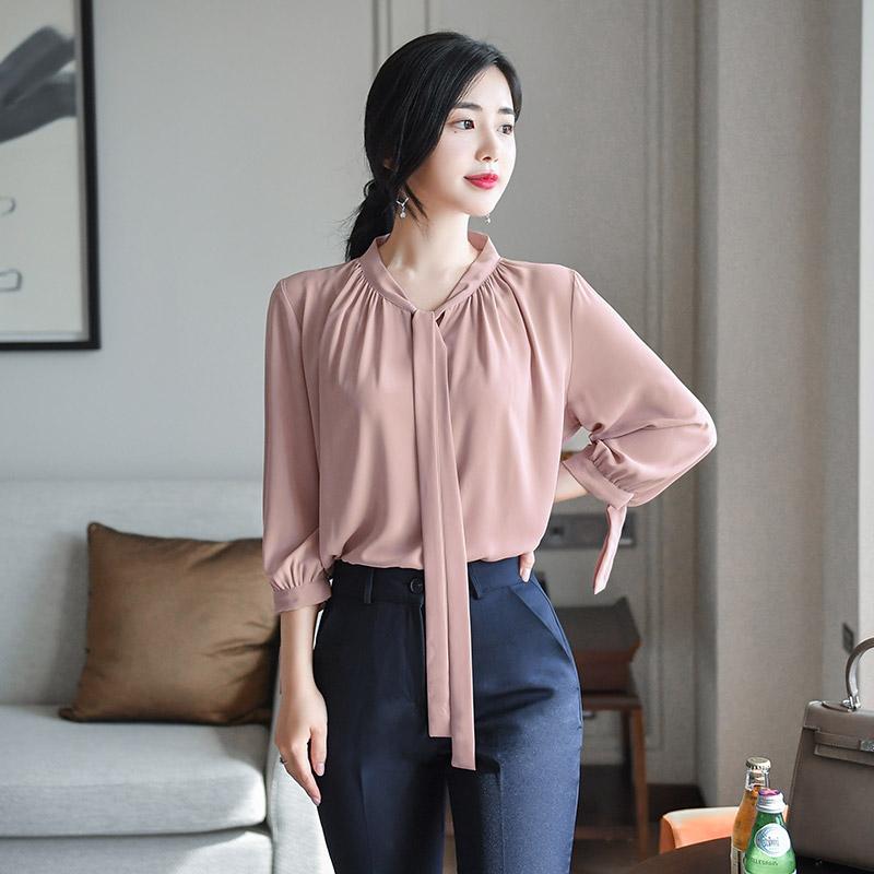 bs4544 세련되며 여성스런 김비서스타일의 소매포인트 7부소매 타이블라우스 blouse