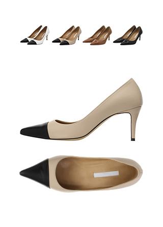 sh1573 에나멜 앞코 배색 포인트의 수제화 소가죽 펌프스 힐 shoes