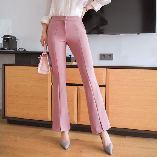 ps1871 쫀쫀한 스판 패브릭의 절개라인 앞트임 부츠컷 슬랙스 pants