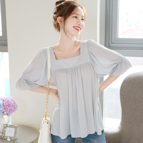 bs4582 예쁜 뒷모습의 리본포인트 5부소매 소프트 블라우스 blouse