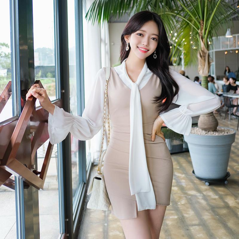 bs4586 로맨틱 시크 감성의 리본타이장식 프릴소매 쉬폰 블라우스 blouse
