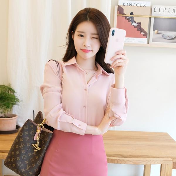 bs4602 10가지 컬러라인의 베이직 소프트 쉬폰 블라우스 blouse