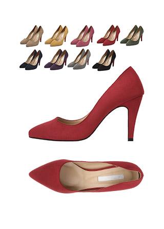 sh1587 밑창 포인트 컬러의 스웨이드 슬림코 펌프스 힐 shoes