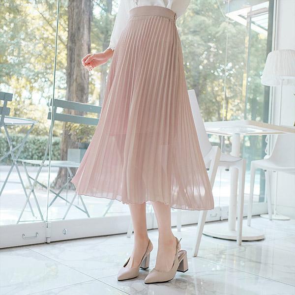 sk3653 여리여리 여신실루엣 선사해줄 플리츠 주름디자인의 롱스커트 skirt