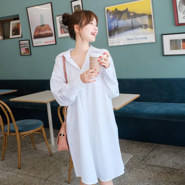 bs4625 데일리룩으로 활용하기 좋은 가성비대박 루즈핏 롱 셔츠원피스 blouse