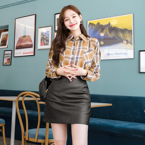 sk3670 시크한 레더소재로 가성비 좋게 제작된 베이직 H라인 미니스커트 skirt