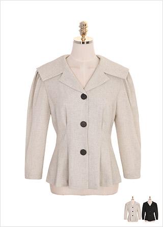bs4649 세일러 더블 카라와 핀턱 디자인의 퍼프숄더 페플럼 블라우스 blouse