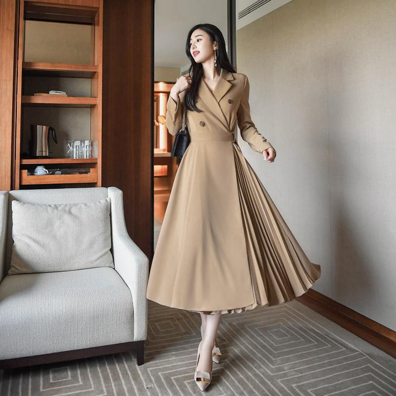 op7666 언발 플리츠디자인의 트렌치 롱플레어 랩원피스 dress