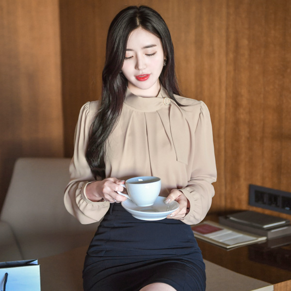 bs4648 단아한 여신미 선사해드릴 진주링포인트 타이 블라우스 blouse