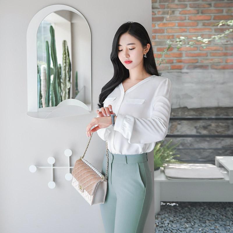 bs4647 매일 데일리오피스로 입기좋은 더블포켓포인트 쉬폰블라우스 blouse