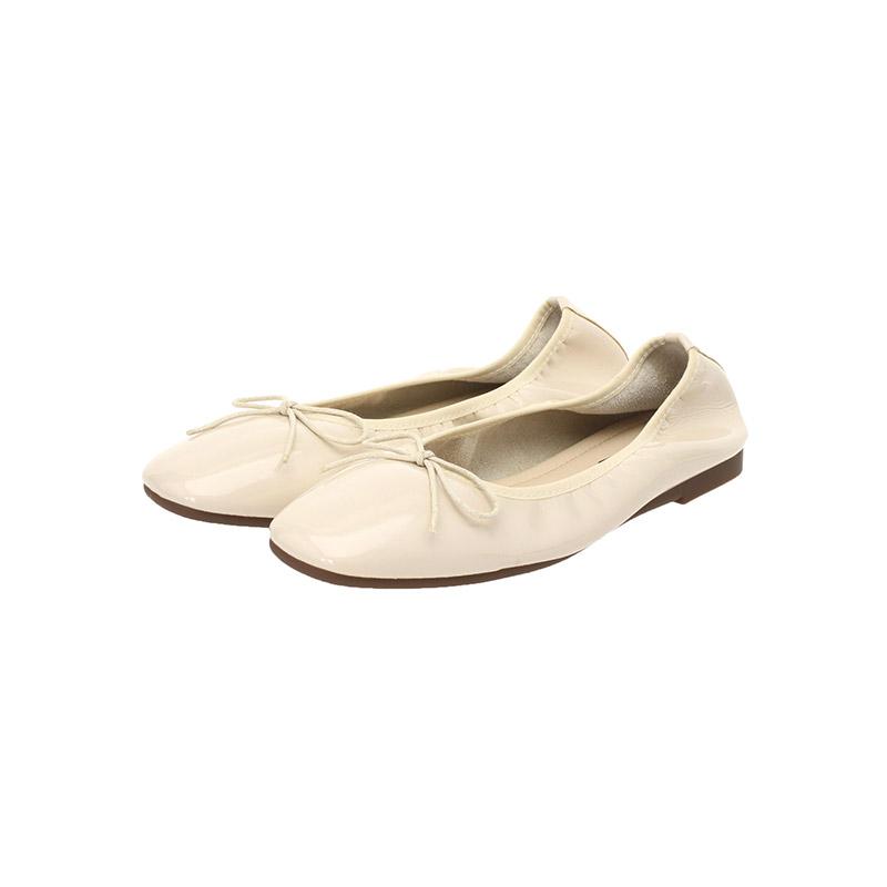 sh1601 말랑말랑한 에나멜 밴딩 리본 포인트 플랫 슈즈 shoes