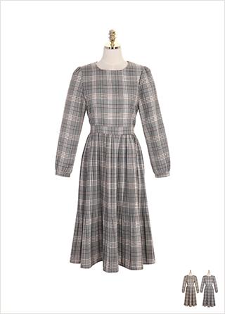 op7677 플리츠 아코디언 디자인의 체크 원피스 dress