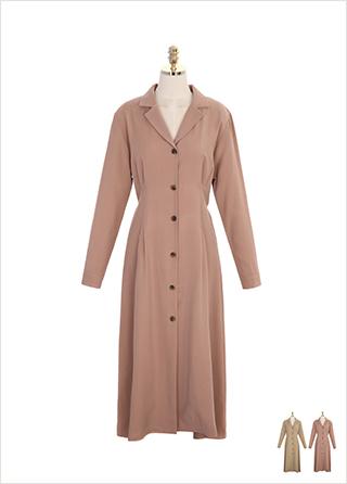 op7679 백 리본 포인트의 허리 핀턱 디테일 오픈 카라 원피스 dress