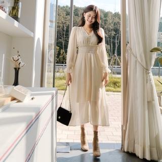 op7694(A) 청순한 여신무드를 자아내는 로맨틱 잔도트 패턴의 스모크밴딩 긴팔 쉬폰 롱원피스 dress