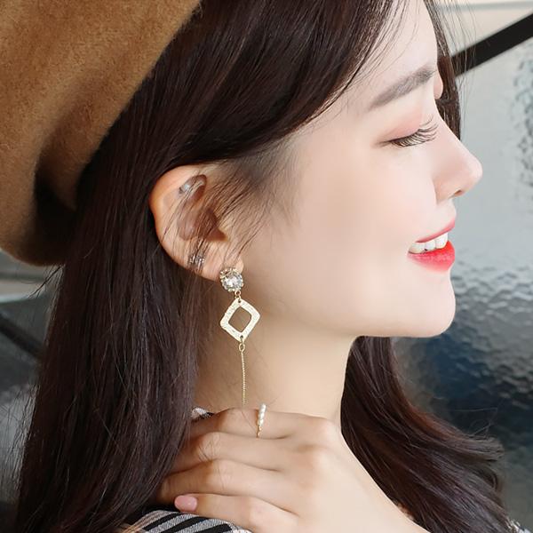 ac4161 큐빅 스퀘어 장식의 여리한 체인 드롭 이어링 earring