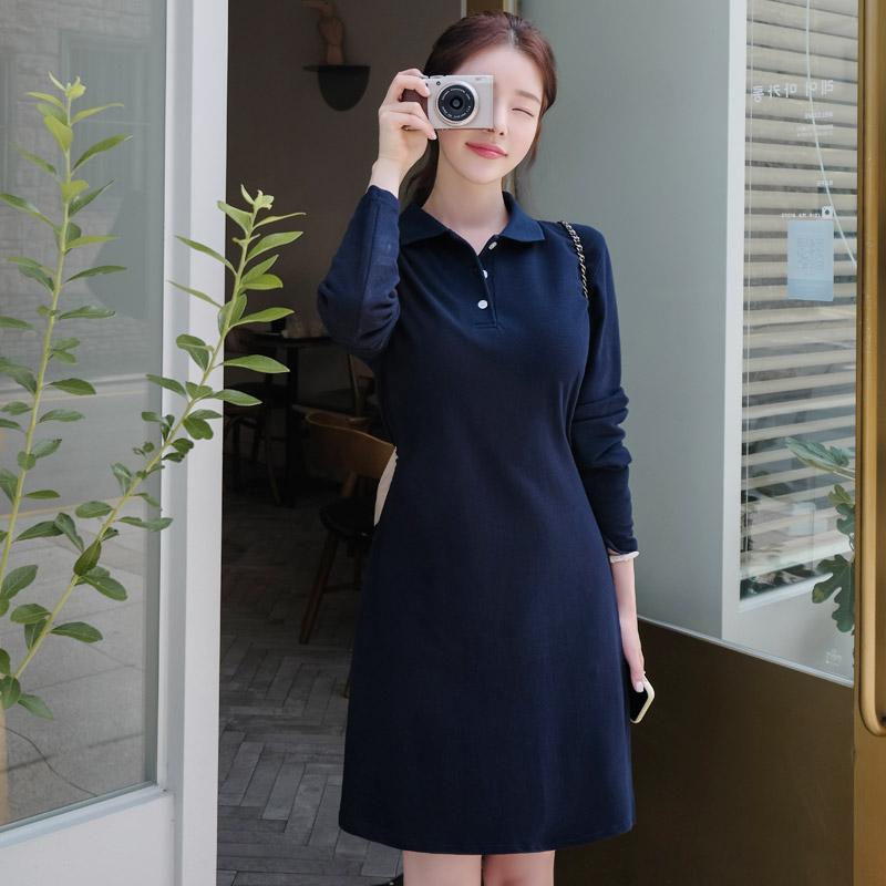 op7704 발랄한 캐주얼무드를 선사할 피케카라 백리본 원피스  dress