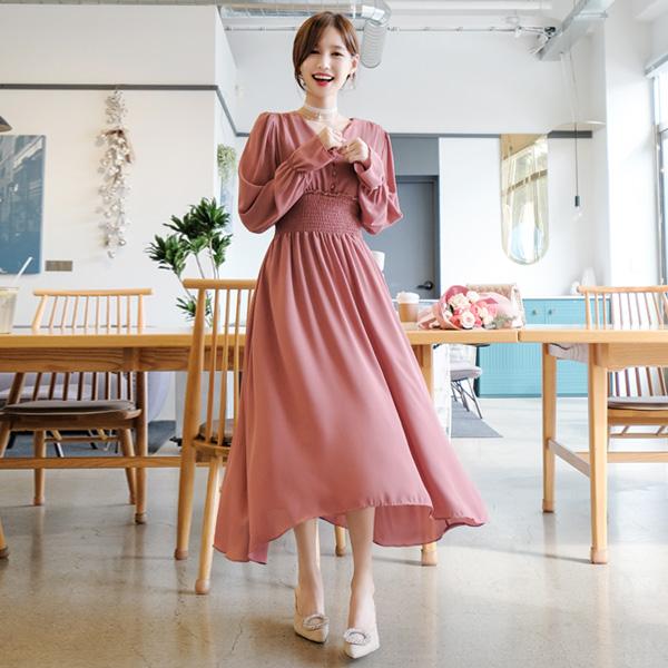 op7706 사랑스러운 로맨틱실루엣의 스모크밴딩 플레어 롱원피스 dress