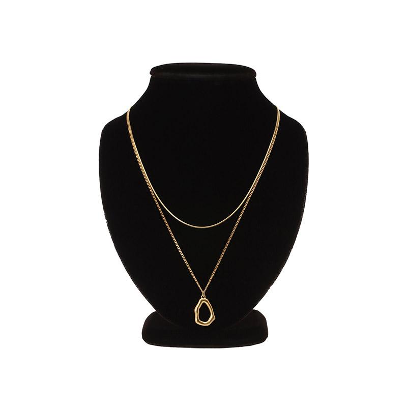 ac4154 감각적인 무드로 완성된 골드 팬던트 레이어드 네크리스 necklace