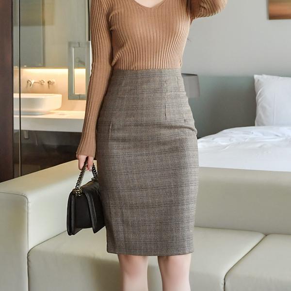 sk3703 세련된 무드를 선사할 슬림 체크 패턴의 하이웨이스트 미디 H라인 스커트 skirt