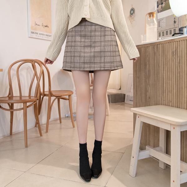 sk3710 팬츠 안감이 있어 더욱 편안한 랩스타일 체크패턴 미니 스커트 skirt