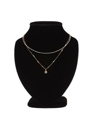 ac4158 골드 비즈 스트랩 장식의 레이어드 네크리스 necklace