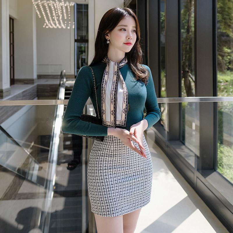 sk3712 엘레강스한 트위드 패브릭의 하이웨이스트 백 밴딩 미니 스커트 skirt
