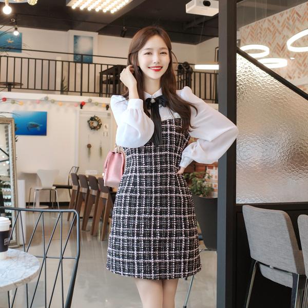 op7737 리본 브로치 세트 구성의 시스루 카라 블랑 포인트 러블리 트위드 원피스 dress